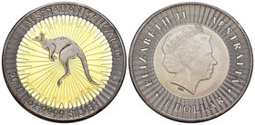 Australia. Elizabeth II. 1 dollar. 2018. Perth. P. Ag. 31,11 g. Gold plated and Ruthenium Edition. Kangaroo. PR. Est...50,00.