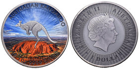 Australia. Elizabeth II. 1 dollar. 2018. Perth. P. (Km-no cita). Ag. 31,11 g. Coloured Edition. Kangaroo. Antique finish. Tirada de 500 piezas acuñada...