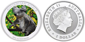 Australia. Elizabeth II. 1 dollar. 2018. Perth. P. Ag. 31,11 g. Coloured Edition. Koala. PR. Est...30,00.