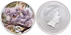 Australia. Elizabeth II. 1 dollar. 2018. Perth. P. (Km-no cita). Ag. 31,11 g. Coloured Edition. Koala. PR. Est...40,00.