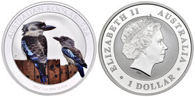 Australia. Elizabeth II. 1 dollar. 2017. Perth. P. (Km-no cita). Ag. 31,11 g. Coloured Edition. Kookaburra. PR. Est...40,00.