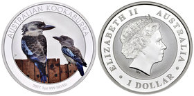 Australia. Elizabeth II. 1 dollar. 2017. Perth. P. (Km-no cita). Ag. 3111,00 g. Coloured Edition. Kookaburra. PR. Est...40,00.