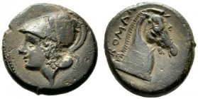 The Collection of Roman Republican Coins of a Student and his Mentor Part III   Half unit, Neapolis after 276, Æ 4.96 g. Helmeted head of Minerva l. ...