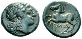 The Collection of Roman Republican Coins of a Student and his Mentor Part III   Bronze circa 234-231, Æ 2.48 g. Laureate head of Apollo r. Rev. Bridl...