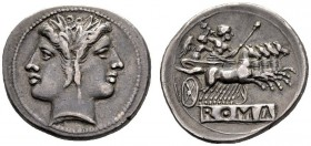 The Collection of Roman Republican Coins of a Student and his Mentor Part III   Quadrigatus circa 225-214, AR 5.76 g. Laureate Janiform head of Diosc...