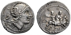 The Collection of Roman Republican Coins of a Student and his Mentor Part III   Quinarius, uncertain mint after 211, AR 2.29 g. Helmeted head of Roma...