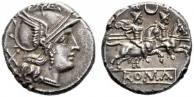 The Collection of Roman Republican Coins of a Student and his Mentor Part III   Denarius circa 207, AR 3.96 g. Helmeted head of Roma r.; behind, X. R...