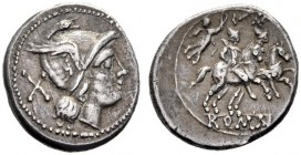 The Collection of Roman Republican Coins of a Student and his Mentor Part III   Denarius, Central Italy circa 211-208, AR 4.27 g. Helmeted head of Ro...