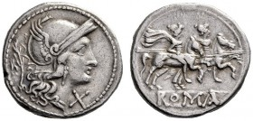 The Collection of Roman Republican Coins of a Student and his Mentor Part III   Denarius, Sicily circa 209-208, AR 4.36 g. Helmeted head of Roma r., ...