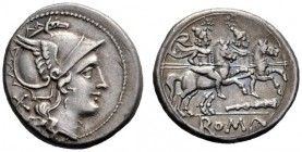 The Collection of Roman Republican Coins of a Student and his Mentor Part III   Denarius, South East Italy circa 208, AR 4.20 g. Helmeted head of Rom...