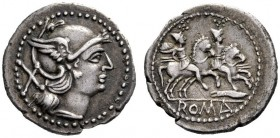 The Collection of Roman Republican Coins of a Student and his Mentor Part III   Denarius, Central Italy (?) circa 211-208, AR 3.75 g. Helmeted head o...