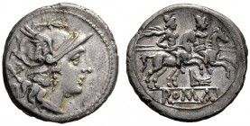 The Collection of Roman Republican Coins of a Student and his Mentor Part III   Denarius circa 206-195, AR 3.64 g. Helmeted head of Roma r.; behind, ...