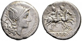 The Collection of Roman Republican Coins of a Student and his Mentor Part III   Var. Denarius, uncertain mint circa 206-200, AR 3.91 g. Helmeted head...