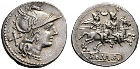 The Collection of Roman Republican Coins of a Student and his Mentor Part III   Denarius circa 194-190, AR 3.24 g. Helmeted head of Roma r.; behind, ...
