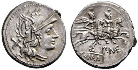 The Collection of Roman Republican Coins of a Student and his Mentor Part III   P.  Mae. Denarius circa 194-190, AR 3.52 g. Helmeted head of Roma r.;...