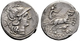 The Collection of Roman Republican Coins of a Student and his Mentor Part III   Tod. Denarius circa 189-180, AR 3.98 g. Helmeted head of Roma r.; beh...