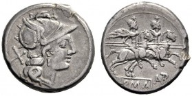 The Collection of Roman Republican Coins of a Student and his Mentor Part III   Autr.  Denarius circa 189-180, AR 3.70 g. Helmeted head of Roma r.; b...