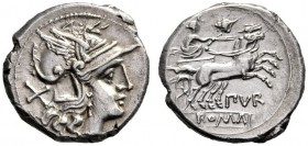 The Collection of Roman Republican Coins of a Student and his Mentor Part III   Furius Purpurio.  Denarius circa 169-158, AR 3.83 g. Helmeted head of...