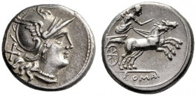 The Collection of Roman Republican Coins of a Student and his Mentor Part III   Denarius 157-156, AR 3.90 g. Helmeted head of Roma r.; behind X. Rev....