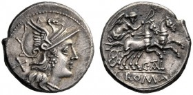 The Collection of Roman Republican Coins of a Student and his Mentor Part III   C. Tal. Denarius 154, AR 3.83 g. Helmeted head of Roma r.; behind, X....