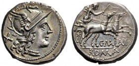 The Collection of Roman Republican Coins of a Student and his Mentor Part III   C. Maianius. Denarius 153, AR 4.30 g. Helmeted head of Roma r.; behin...