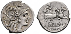 The Collection of Roman Republican Coins of a Student and his Mentor Part III   Decimius Flavus.  Denarius 150, AR 3.25 g. Helmeted head of Roma r.; ...