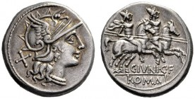 The Collection of Roman Republican Coins of a Student and his Mentor Part III   C. Iuni. C. f.  Denarius 149, AR 3.93 g. Helmeted head of Roma r., be...