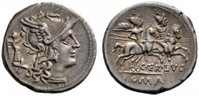 The Collection of Roman Republican Coins of a Student and his Mentor Part III   C. Terentius Lucanus. Denarius 147, AR 3.88 g. Helmeted head of Roma ...