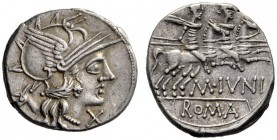 The Collection of Roman Republican Coins of a Student and his Mentor Part III   M. Iunius.  Denarius 145, AR 3.78 g. Helmeted head of Roma r.; behind...