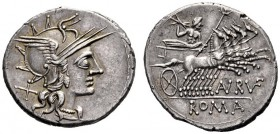 The Collection of Roman Republican Coins of a Student and his Mentor Part III   Annius Rufus.  Denarius 144, AR 3.97 g. Helmeted head of Roma r.; beh...