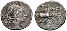 The Collection of Roman Republican Coins of a Student and his Mentor Part III   L. Minucius. Denarius 133, AR 3.87 g. Helmeted head of Roma r.; behin...