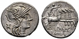 The Collection of Roman Republican Coins of a Student and his Mentor Part III   P. Maenius M. f. Antias or Antiaticus. Denarius 132, AR 3.90 g. Helme...