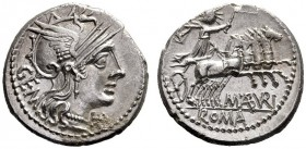 The Collection of Roman Republican Coins of a Student and his Mentor Part III   M. Aburius Geminus. Denarius 132, AR 3.87 g. Helmeted head of Roma r....