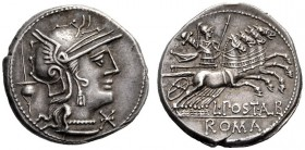 The Collection of Roman Republican Coins of a Student and his Mentor Part III   L. Postumius Albinus. Denarius 131, AR 3.94 g. Helmeted head of Roma ...