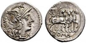 The Collection of Roman Republican Coins of a Student and his Mentor Part III   M. Vargunteius . Denarius 130, AR 3.94 g. Helmeted head of Roma r.; b...