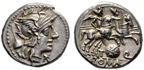 The Collection of Roman Republican Coins of a Student and his Mentor Part III   T. Quinctius Flamininus. Denarius 126, AR 3.94 g. Helmeted head of Ro...