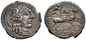 The Collection of Roman Republican Coins of a Student and his Mentor Part III   C. Porcius Cato. Denarius 123, AR 3.89 g. Helmeted head of Roma r.; b...