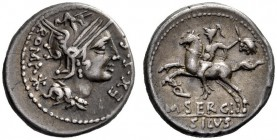 The Collection of Roman Republican Coins of a Student and his Mentor Part III   M. Sergius Silus. Denarius 116, or 115 AR 3.85 g. Helmeted head of Ro...