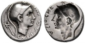The Collection of Roman Republican Coins of a Student and his Mentor Part III   Cn. Blasio Cn. f. Brockage denarius 112 or 111, AR 3.81 g. Helmeted h...