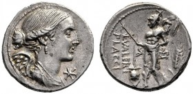 The Collection of Roman Republican Coins of a Student and his Mentor Part III   L. Valerius Flaccus. Denarius 108 or 107, AR 3.95 g. Draped bust of V...