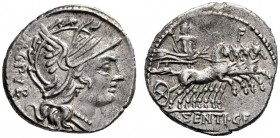 The Collection of Roman Republican Coins of a Student and his Mentor Part III   L. Sentius C. f. Denarius 101, AR 3.89 g. Helmeted head of Roma r.; b...