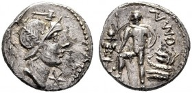 The Collection of Roman Republican Coins of a Student and his Mentor Part III   C. Mal. Denarius 96 (?), AR 3.74 g. Helmeted head of Mars r.; above, ...