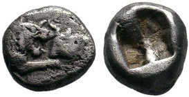 LYDIA, Kings of. Time of Kroisos. Circa 561-546 BC. AR Confronted foreparts of a roaring lion and a bull / Double incuse punch. Rosen 662; SNG von Aul...