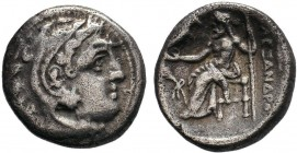 Macedonian Kingdom. Alexander III 'the Great'. 336-323 B.C. AR drachm . Kolophon, ca. 322-319 B.C. Head of Herakles right, wearing lion's skin headdre...
