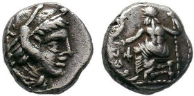 Macedonian Kingdom.Alexander III the Great, King of Macedon, 336-323. AR Obol , Babylon, 323-317. Head of Herakles in lion-skin headdress to right. Re...
