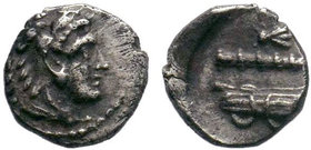 Macedonian Kingdom.Alexander III, obol, after 333 BC, head of Herakles right wearing lion's skin, rev., bow in case and club.Price 3744.  Condition: V...