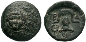 Macedonian Kingdom. Alexander III the Great. 336-323 B.C. AE 1/2 unit. Salamis mint, struck under Nikokreon, ca. 323-315 B.C. Facing Gorgoneion in the...