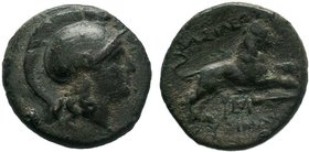 Kings of Thrace. Lysimachos (323-281 BC). AE. Uncertain mint c. 323-281.Obv. Helmeted head of Athena right.Rev. BAΣIΛEΩΣ ΛYΣIMAXOY, Lion running right...