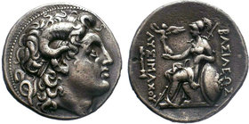 KINGS of THRACE, Macedonian. Lysimachos. 305-281 BC. AR Tetradrachm. Pergamon mint. Struck 287/6-282 BC. Diademed head of the deified Alexander right,...