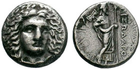 SATRAPS of CARIA. Pixodaros. Circa 341/0-336/5 BC. AR Didrachm . Halikarnassos mint. Laureate head of Apollo facing slightly right, drapery at neck / ...